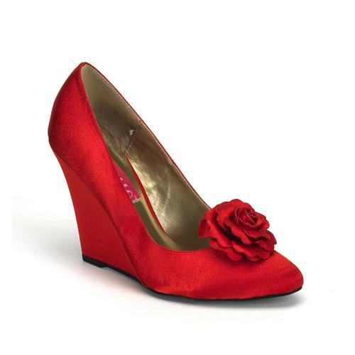 Camille-01 červené saténové lodičky Pleaser