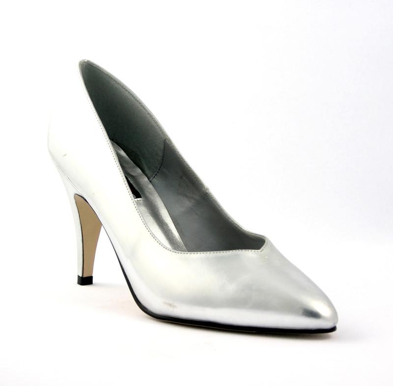 Dream-420w stříbrné lodičky Pleaser na  vysokém podpatku