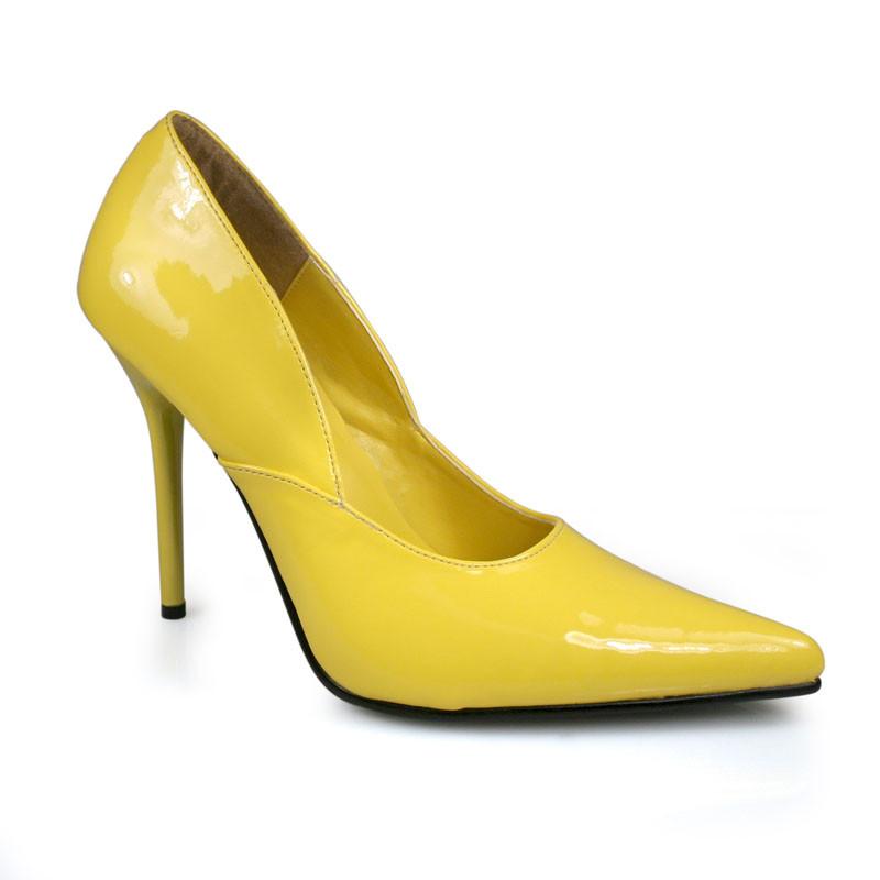 Milan-01 žluté lodičky Pleaser na podpatku