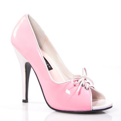 Seduce-216 růžovo bílé lodičky Pleaser na podpatku