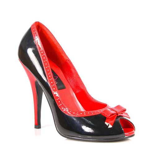Seduce-218 černo červené lodičky Pleaser na podpatku