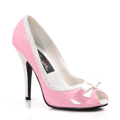 Seduce-218 růžovo bílé lodičky Pleaser na podpatku
