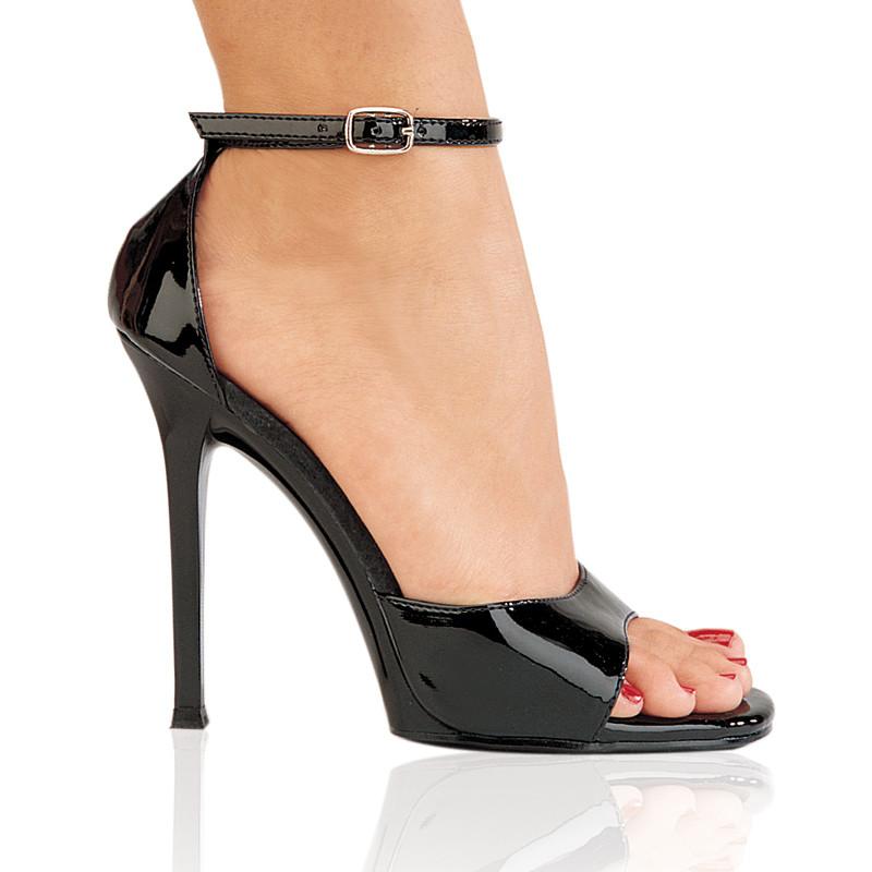 Gala-36 černé sandálky saténové na podpatku