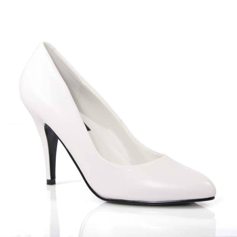 Vanity-420 bílé kožené lodičky Pleaser na podpatku