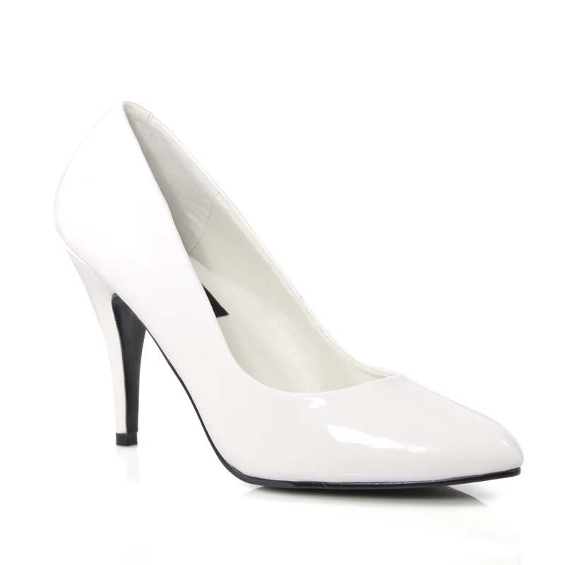 Vanity-420 bílé lakované lodičky Pleaser na podpatku