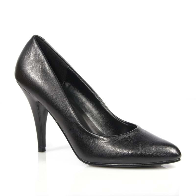 Vanity-420 černé kožené lodičky Pleaser na podpatku