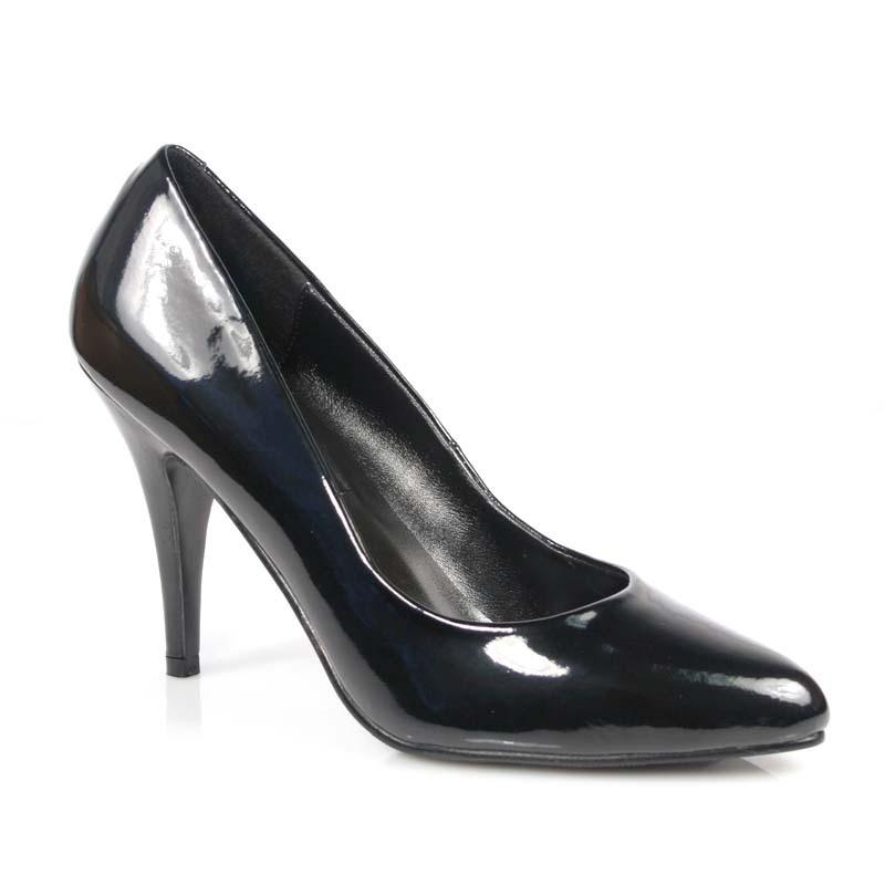 Vanity-420 černé lakované lodičky Pleaser na podpatku