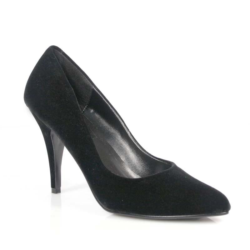 Vanity-420 černé semišové lodičky Pleaser na podpatku