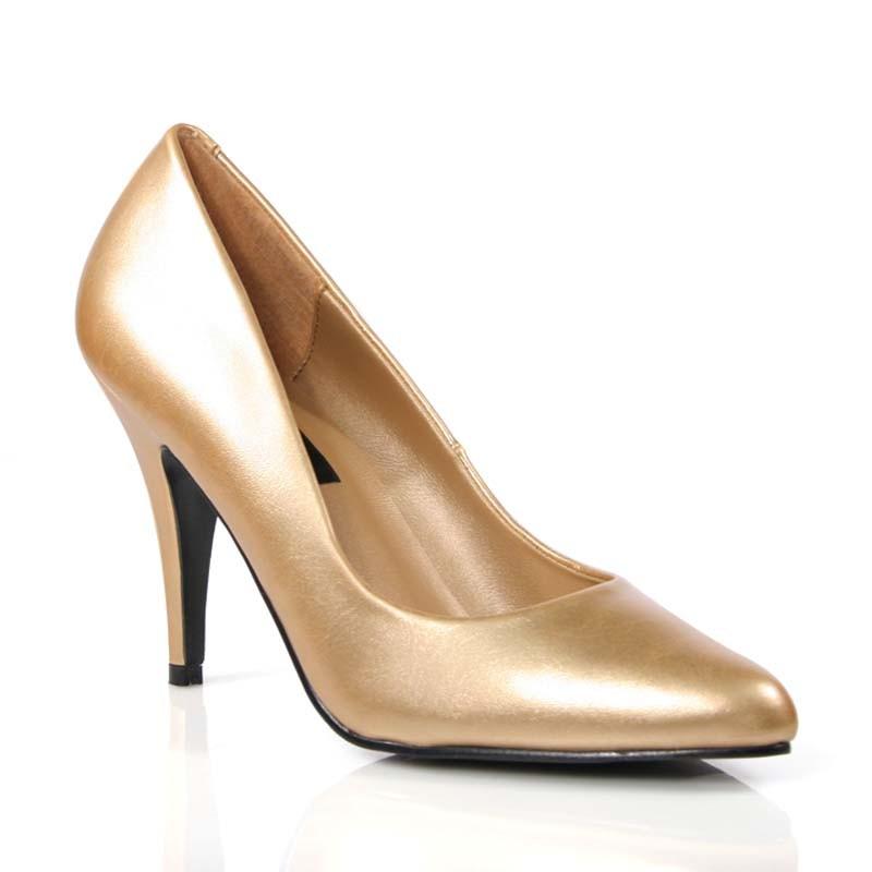 Vanity-420 zlaté lodičky Pleaser na podpatku