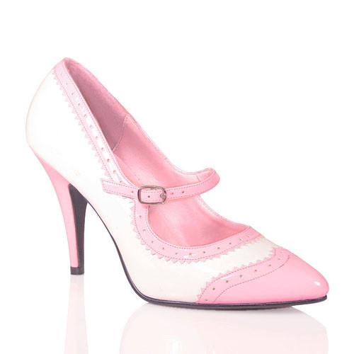 Vanity-442 růžovo-bílé lodičky Pleaser na podpatku