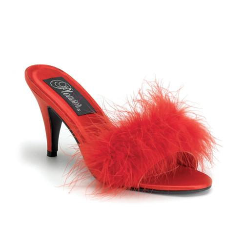 Amour-03 červené pantoflíčky na podpatku
