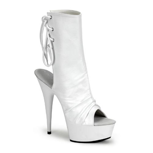 Delight-1018 bílé kozačky na podpatku Pleaser