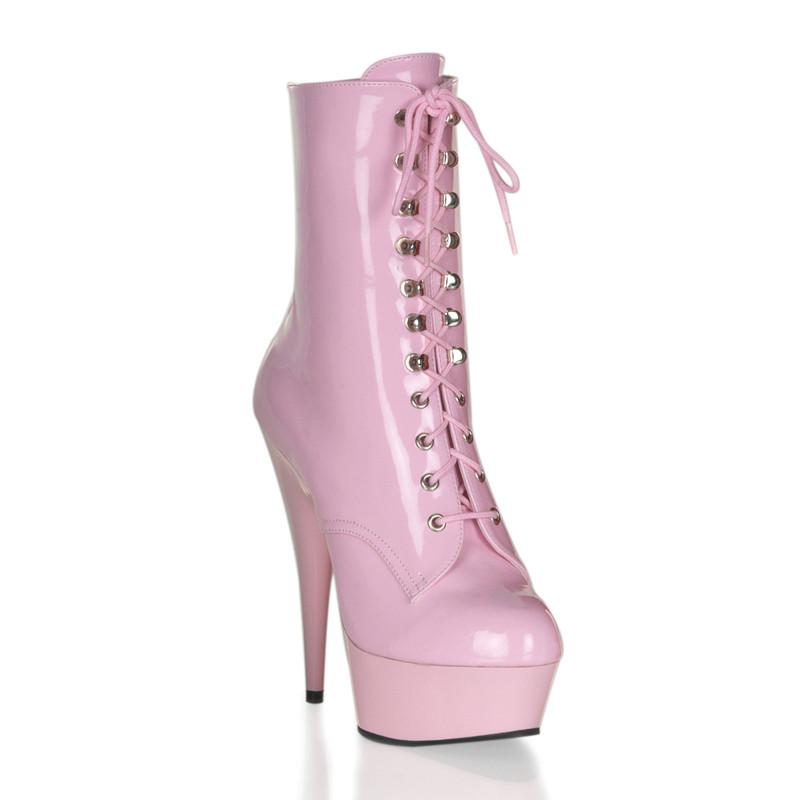 Delight-1020 růžové kozačky na podpatku Pleaser