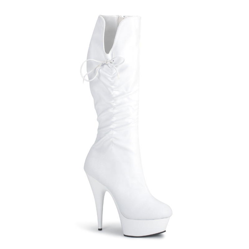 Delight-2007 bílé kozačky na podpatku Pleaser