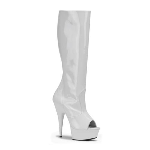 Delight-2012 bílé kozačky na podpatku Pleaser