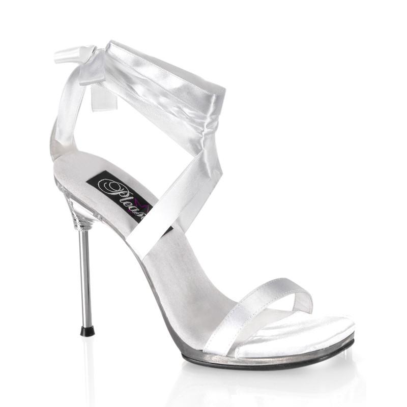 Chic-14 stříbrné sandálky Pleaser na vysokém podpatku