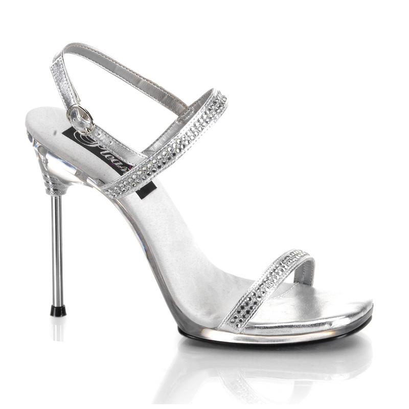 Chic-17 stříbrné sandálky na vysokém podpatku