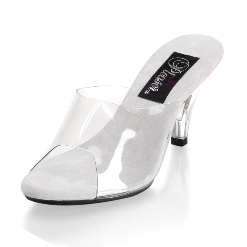 Belle-301 bílé pantoflíčky na podpatku
