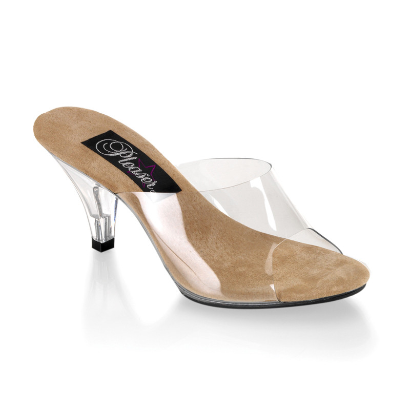 Belle-301 hnědé pantoflíčky na podpatku