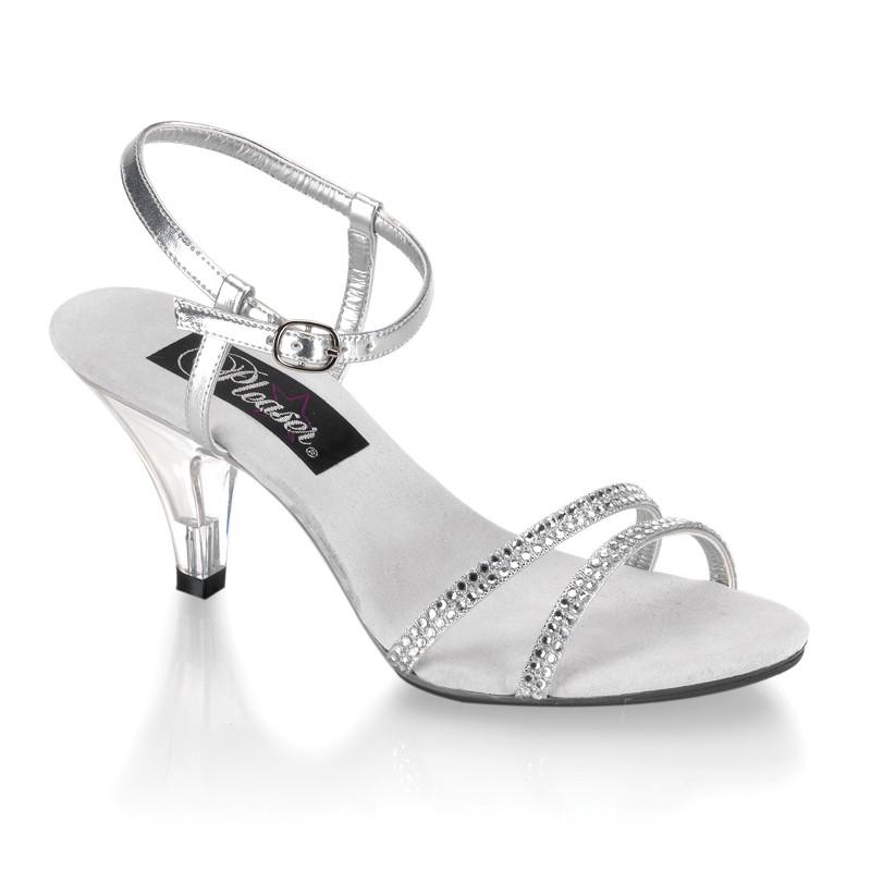 Belle-316 stříbrné sandálky na podpatku