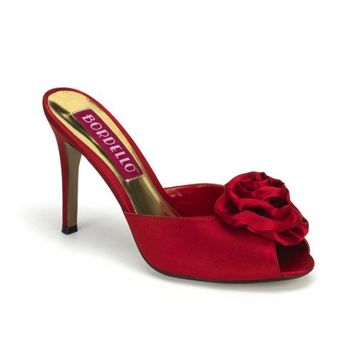 Rosa-01 červené pantofle na podpatku