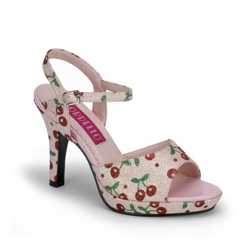 Amuse-05G růžové sandálky s glitry na nízké platformě a podpatku