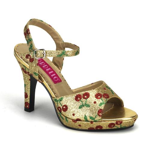 Amuse-05G zlaté sandálky s glitry na nízké platformě a podpatku