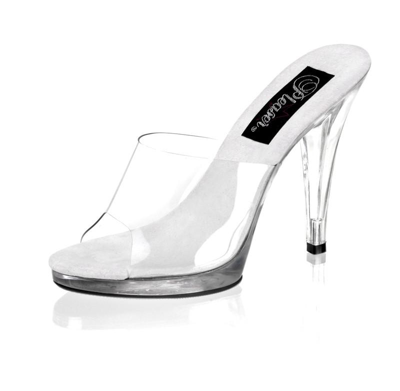 Flair-401 průhledné pantoflíčky na nízké platformě a podpatku