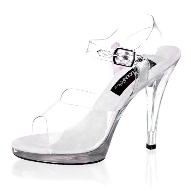Flair-408 průhledné sandále Pleaser na nízké platformě a podpatku