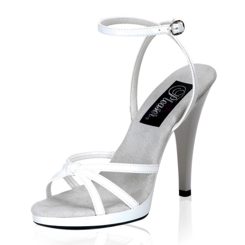 Flair-436 bílé sandály Pleaser na nízké platformě a podpatku