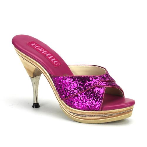 Genie-101G fialové pantofle Pleaser na nízké platformě a podpatku