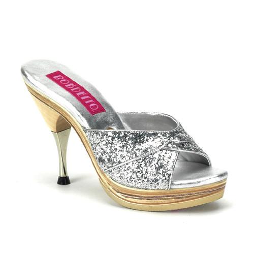 Genie-101G stříbrné pantofle Pleaser na nízké platformě a podpatku