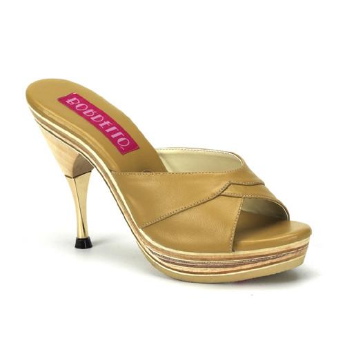 Genie-101LE hnědé pantofle na nízké platformě a podpatku
