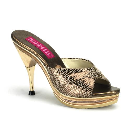 Genie-101SP bronzové pantofle na nízké platformě a podpatku