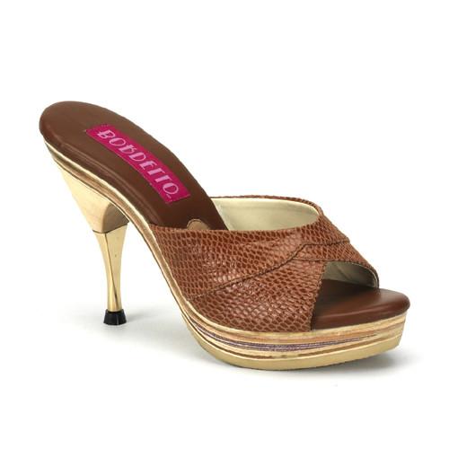 Genie-101SP hnědé pantofle na nízké platformě a podpatku
