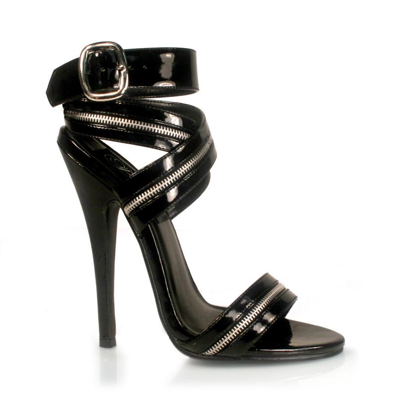 Domina-119 černé sandálky na podpatku