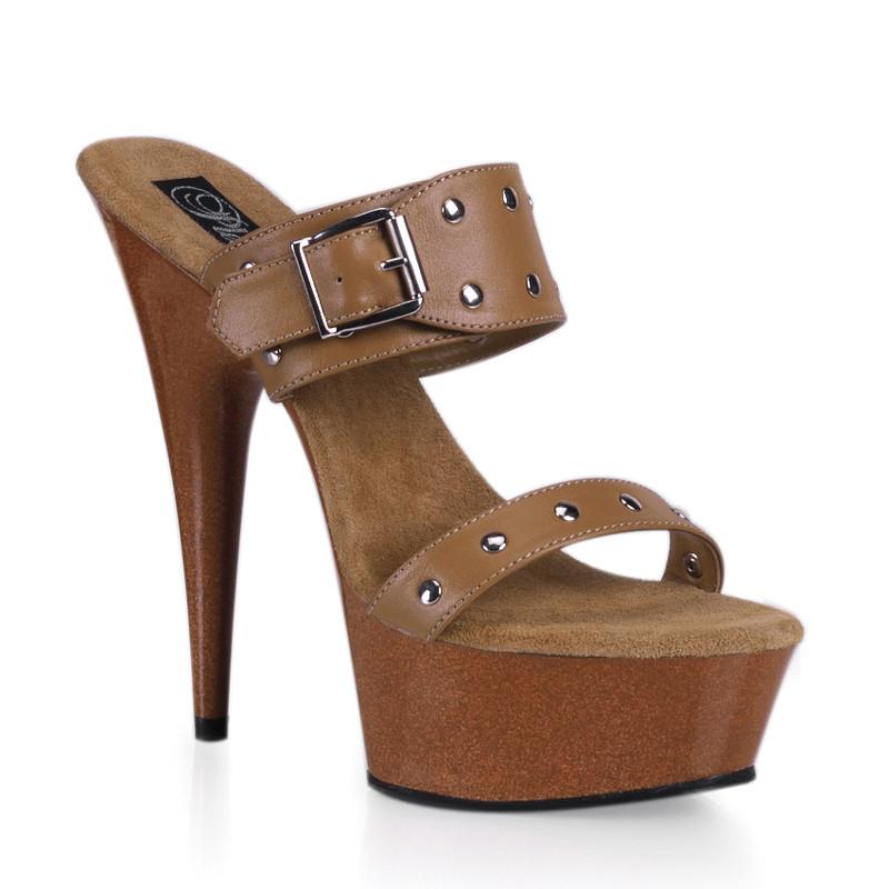 Delight-602-9 hnědé pantofle Pleaser na střední platformě a podpatku