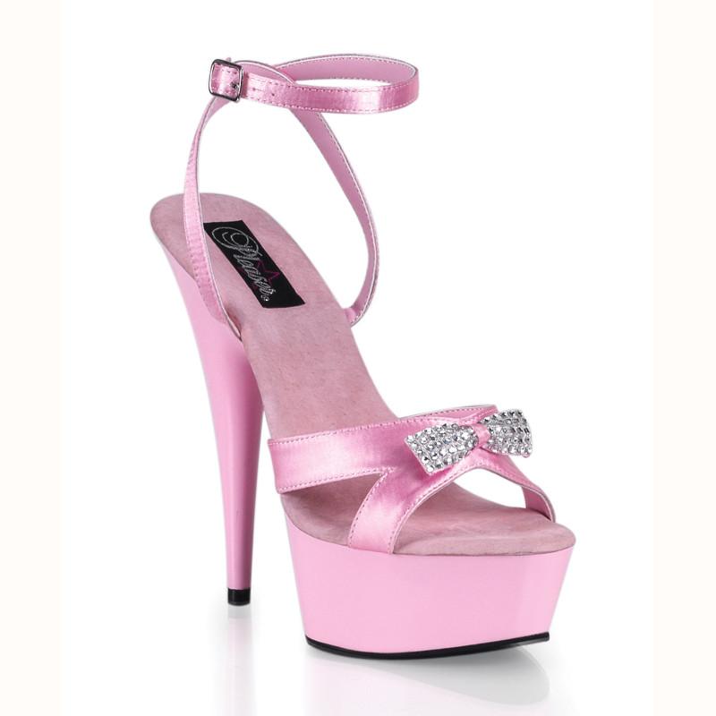 Delight-636 růžové sandálky Pleaser na střední platformě a podpatku