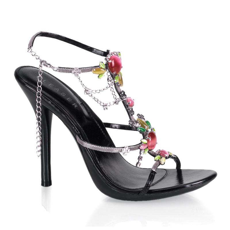 Eclair-26 černé sandálky na podpatku