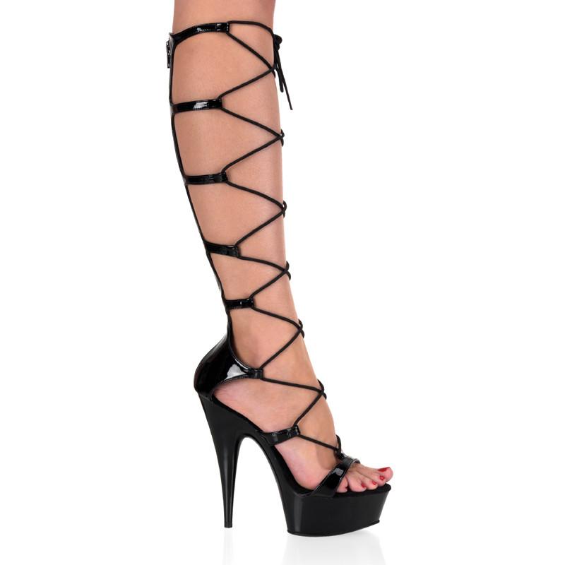 Delight-698 sexy obuv se šněrováním na střední platformě a podpatku