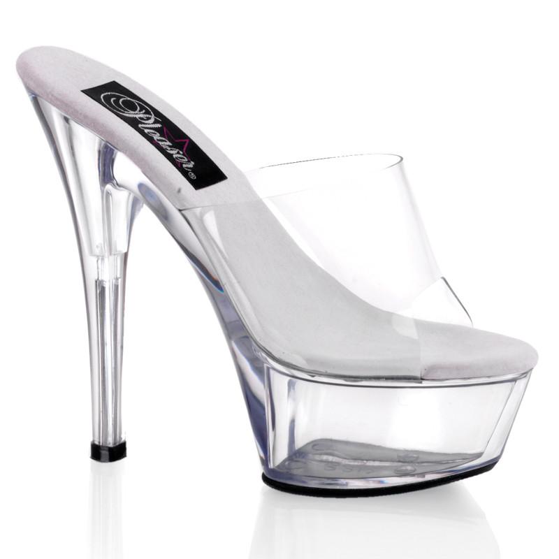 Kiss-201 průhledné pantofle Pleaser na střední platformě a podpatku