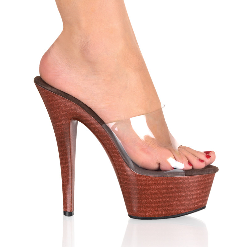 Kiss-201w pantofle na platformě a podpatku Pleaser